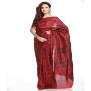 DI- Crimson Red and Black Printed Doriya Tusser Silk Saree  .