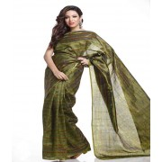 DI- Olive Green Stripes and Printed Tusser Silk Saree  .