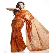 DI- Orange and Rust Doriya and Printed Tusser Silk Saree  .
