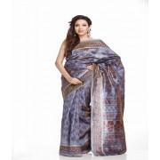 DI- Cool Grey Tree Print Doriya Tusser Silk Saree  .