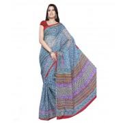 DI- Block Printed Kota Sari in Blue  .