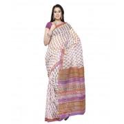 DI- White and Multicolour Block Print Kota sari  .