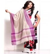 DI- Lilac and Vanilla Brown Chequered Soft Pashmina shawl .
