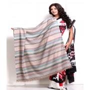 DI- Serene Stripes Soft Pashmina shawl in Blue and Brown .