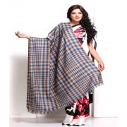 DI- Blue and Silver Gerry Plaid Soft Pashmina shawl  .