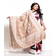 DI- Camel Brown Keri Motifs Soft Pashmina embroidered shawl  .
