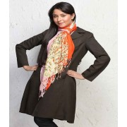 DI- Pink and Orange Printed stole  .