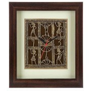 DI- Handcrafted Tribal Metal Craft Wall Clock With Rosewood Frame .