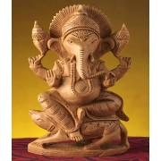 DI- Vijaya Ganapati statue made from pure White wood .